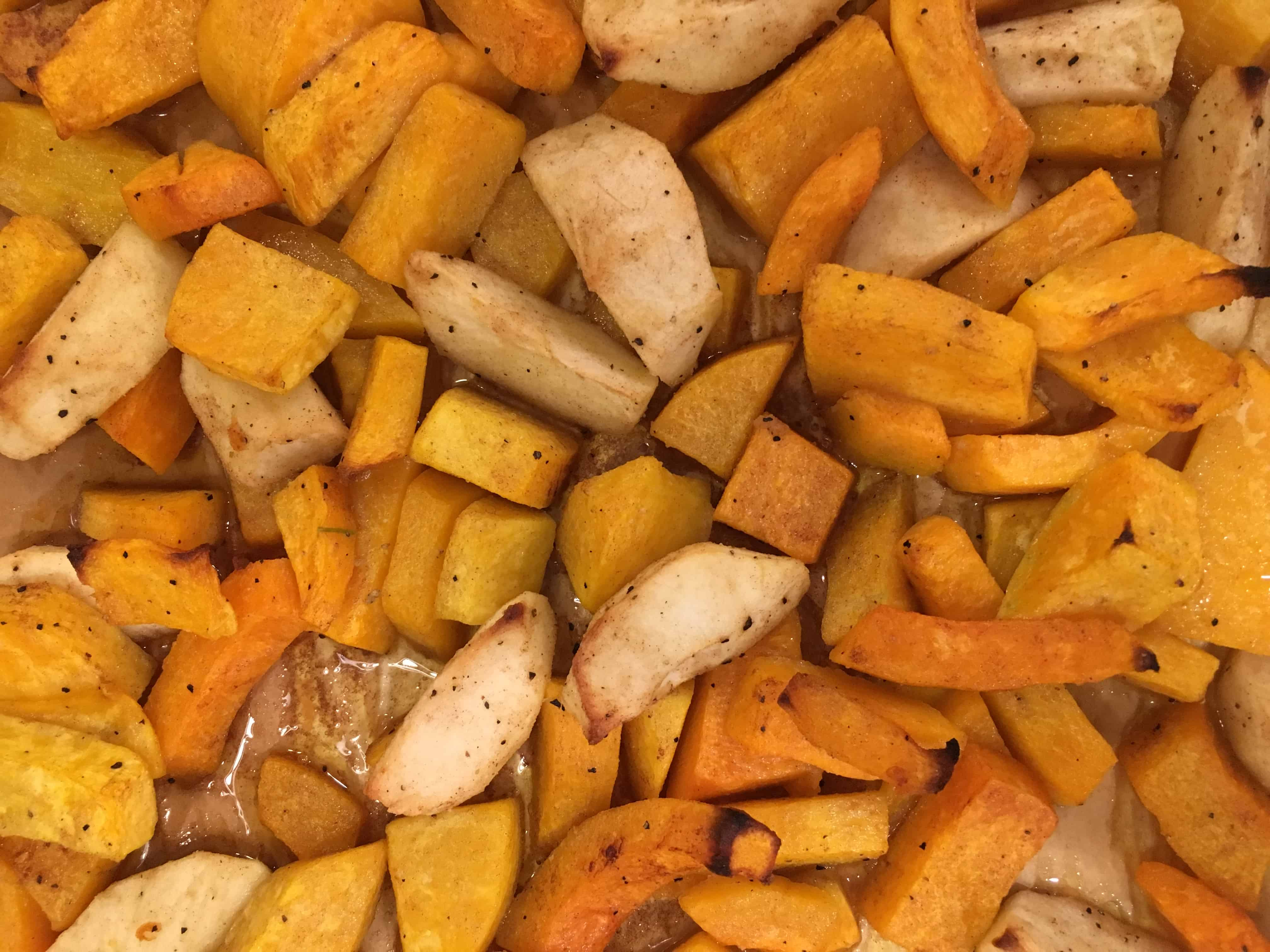 top down shot of roasted apple and sweet potatoes