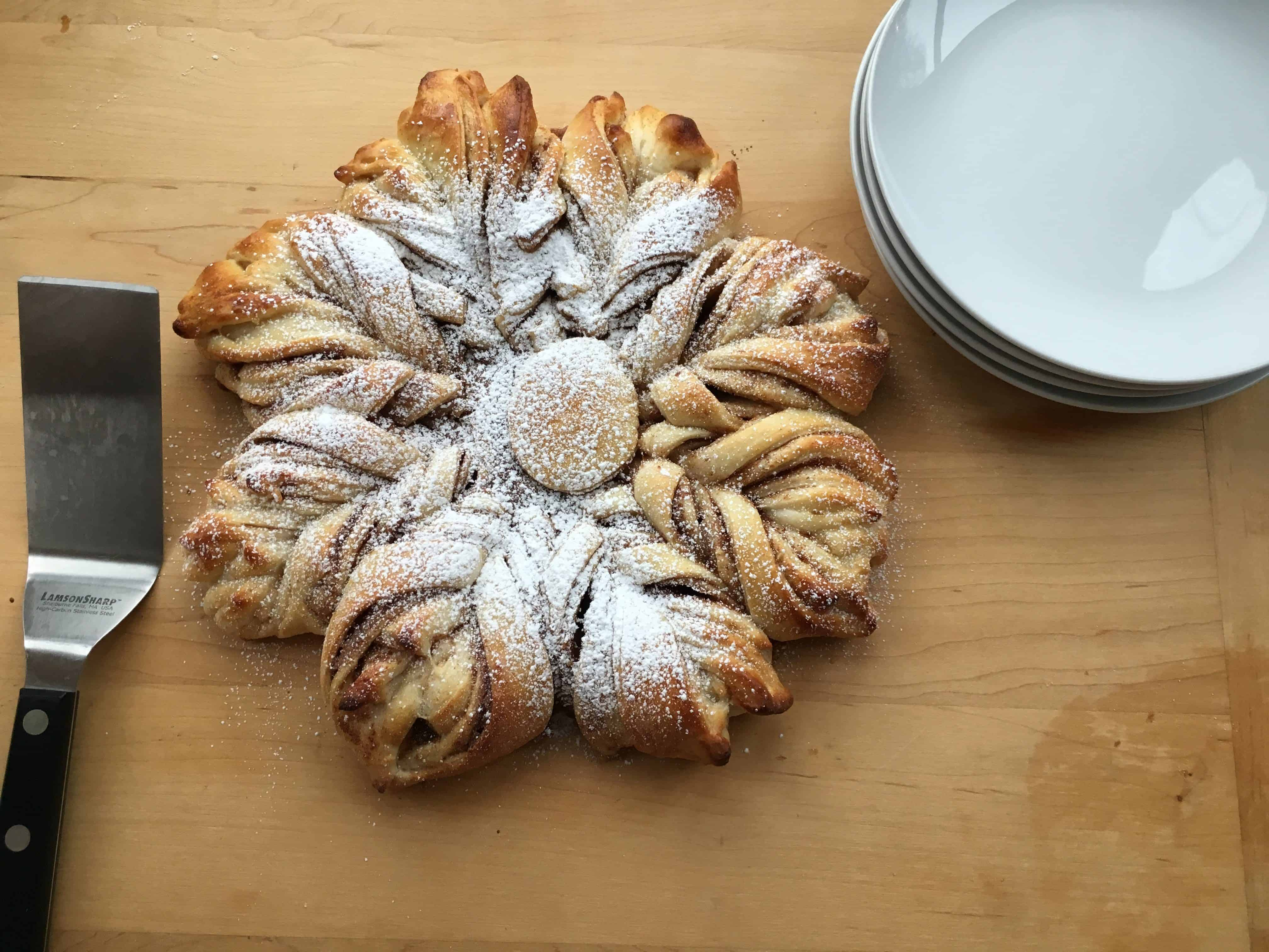 Cinnamon Star Bread on table