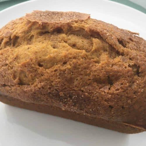 top down shot of pumpkin bread loaf