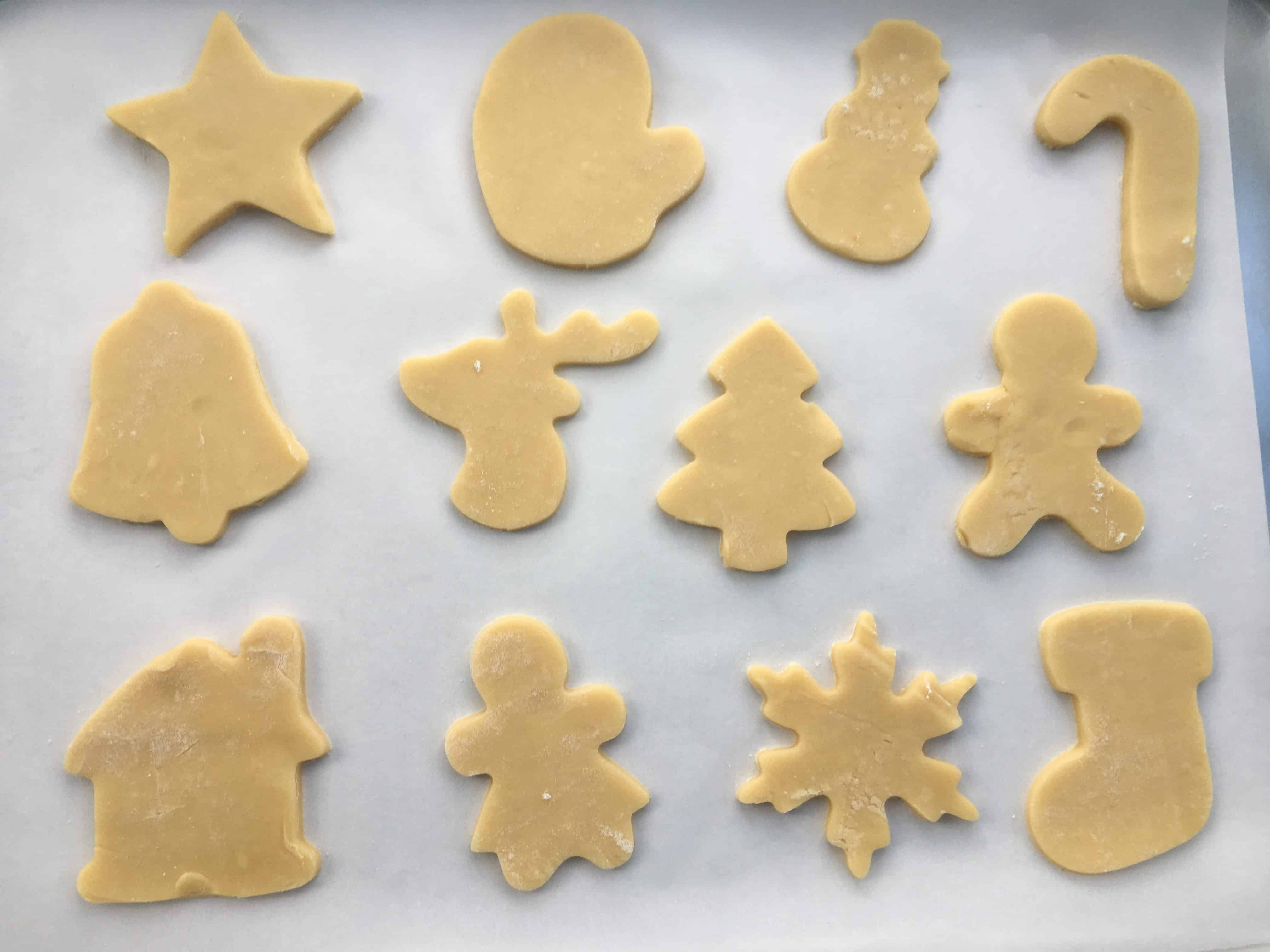 sugar cookies on a baking tray before baking