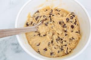 classic chocolate chip cookie dough ready to scoop