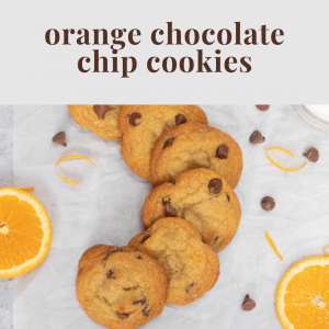 orange chocolate chip cookies with ingredients