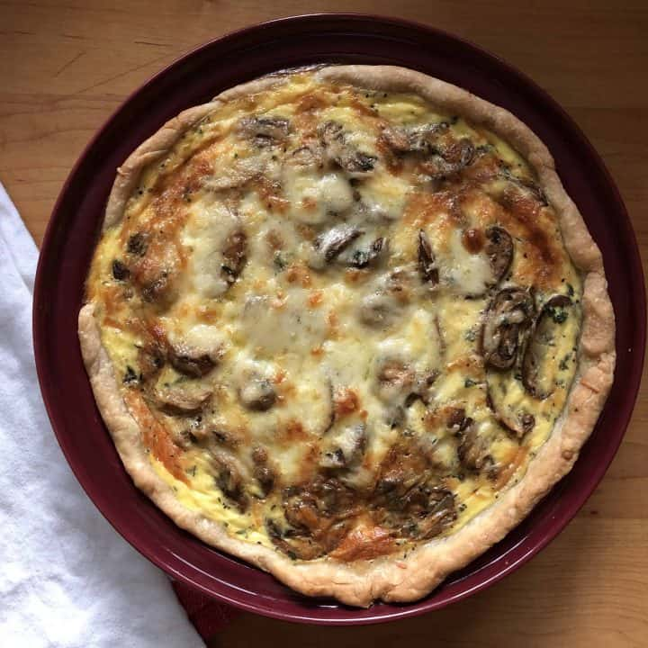 overhead shot of Mushroom and Gruyere Quiche