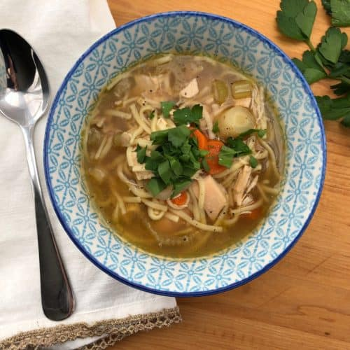 bowl of Slow Cooker Chicken Noodle Soup