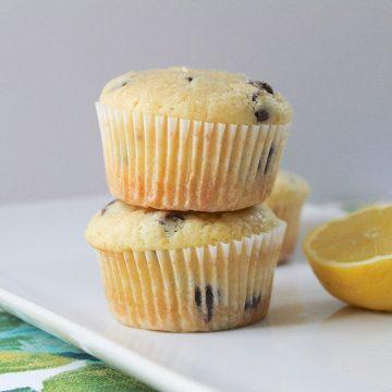 lemon chocolate chip muffins on white tray
