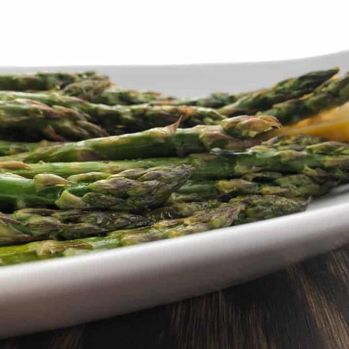 lemon roasted asparagus on serving platter