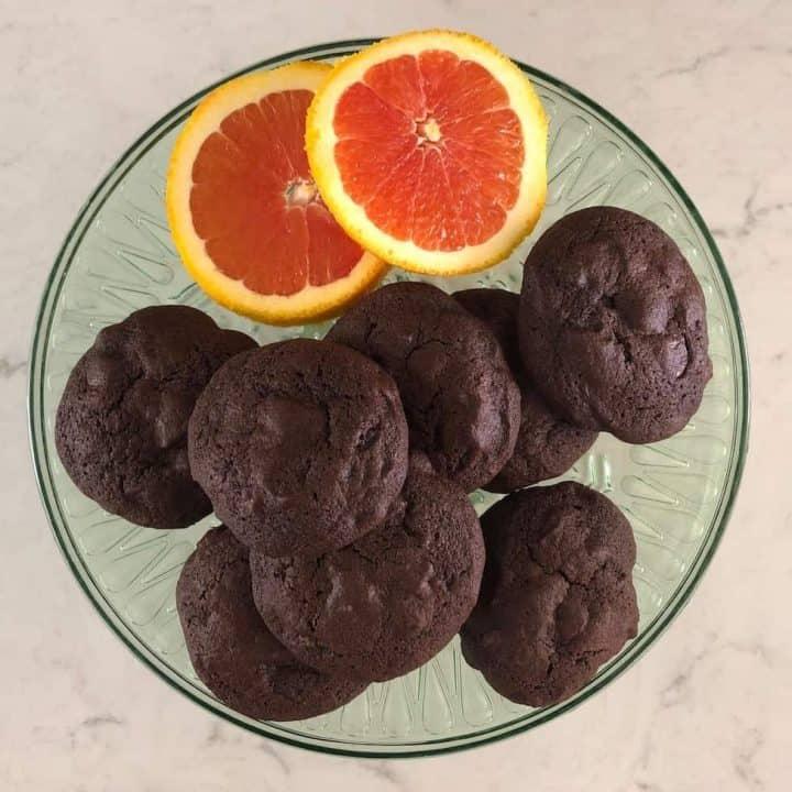 chocolate orange chocolate chip cookies on green cake stand