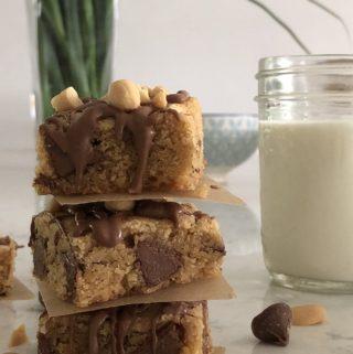 peanut butter milk chocolate blondies stacked