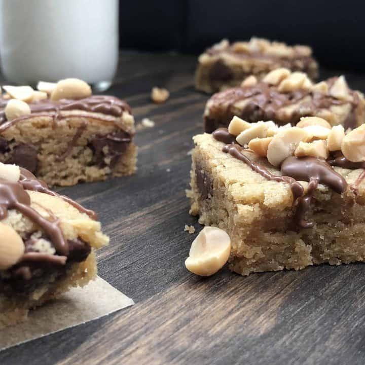 peanut butter milk chocolate chip blondie on brown board