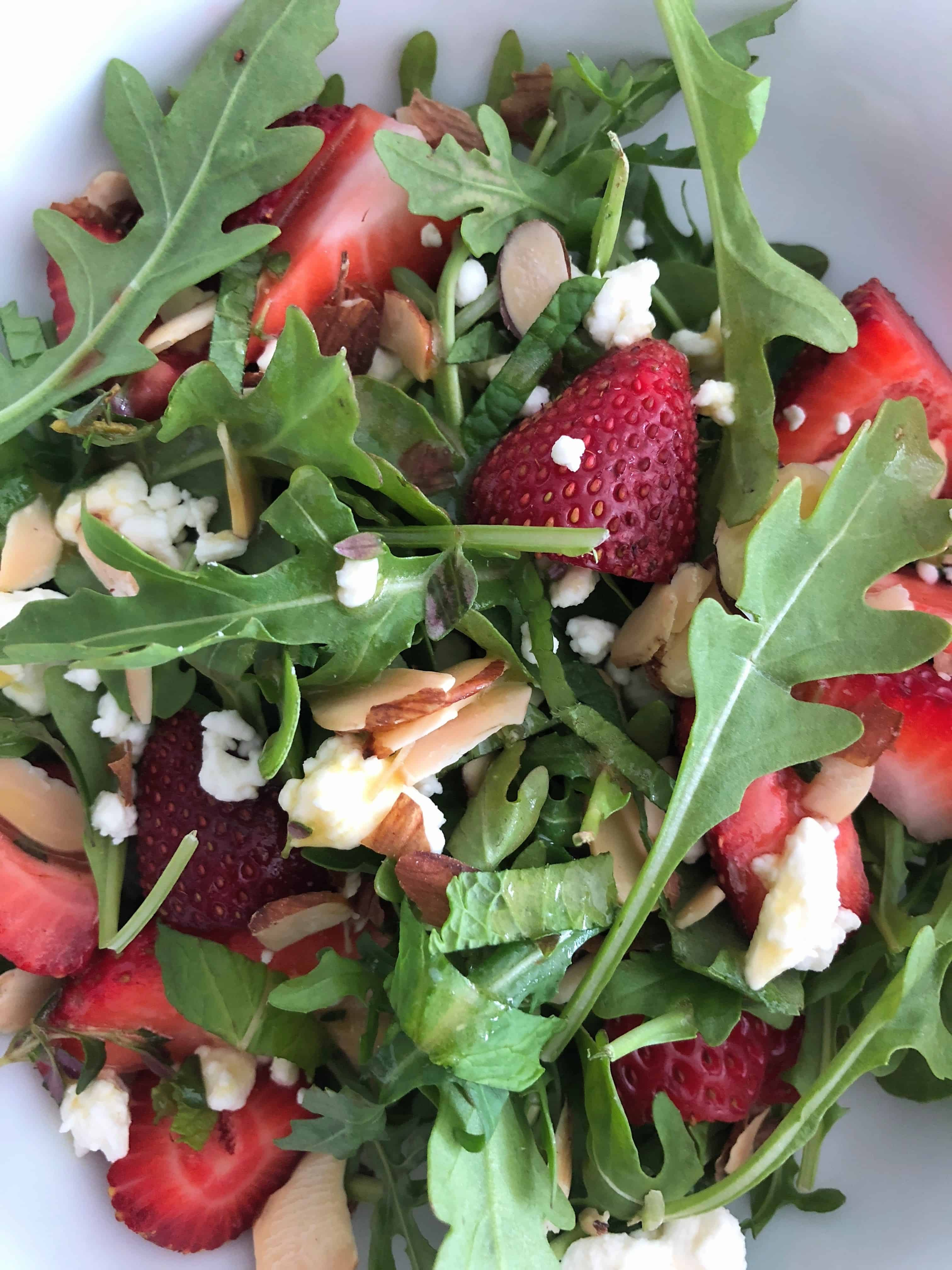 close up of Strawberry Salad with Maple and Thyme Vinaigrette