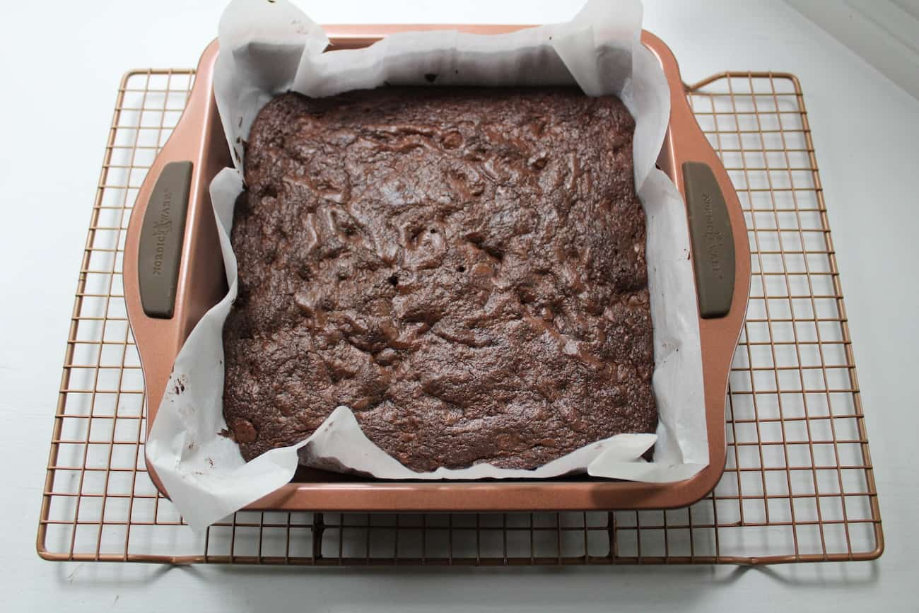 The Best Fudgy Brownie in a baking dish
