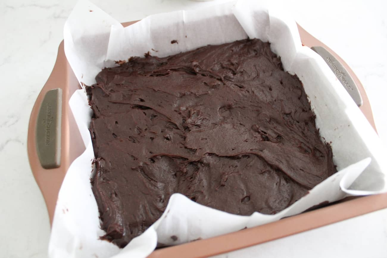 brownie batter in a baking dish