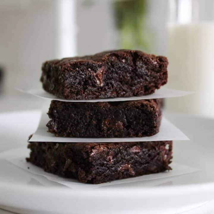stack of fudge brownies on a plate
