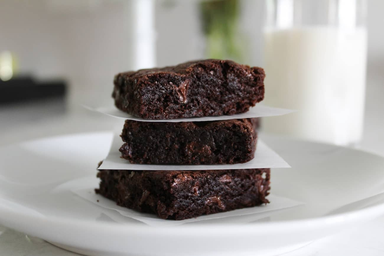 stack of The Best Fudgy Brownies