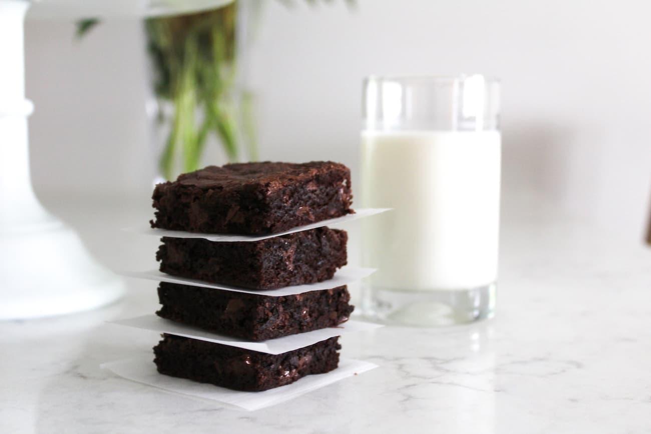 a stack of fudge brownies