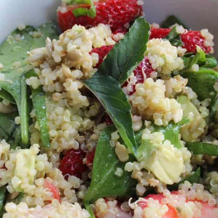 overhead shot of Strawberry Quinoa Salad with Maple and Thyme Vinaigrette in a bowl