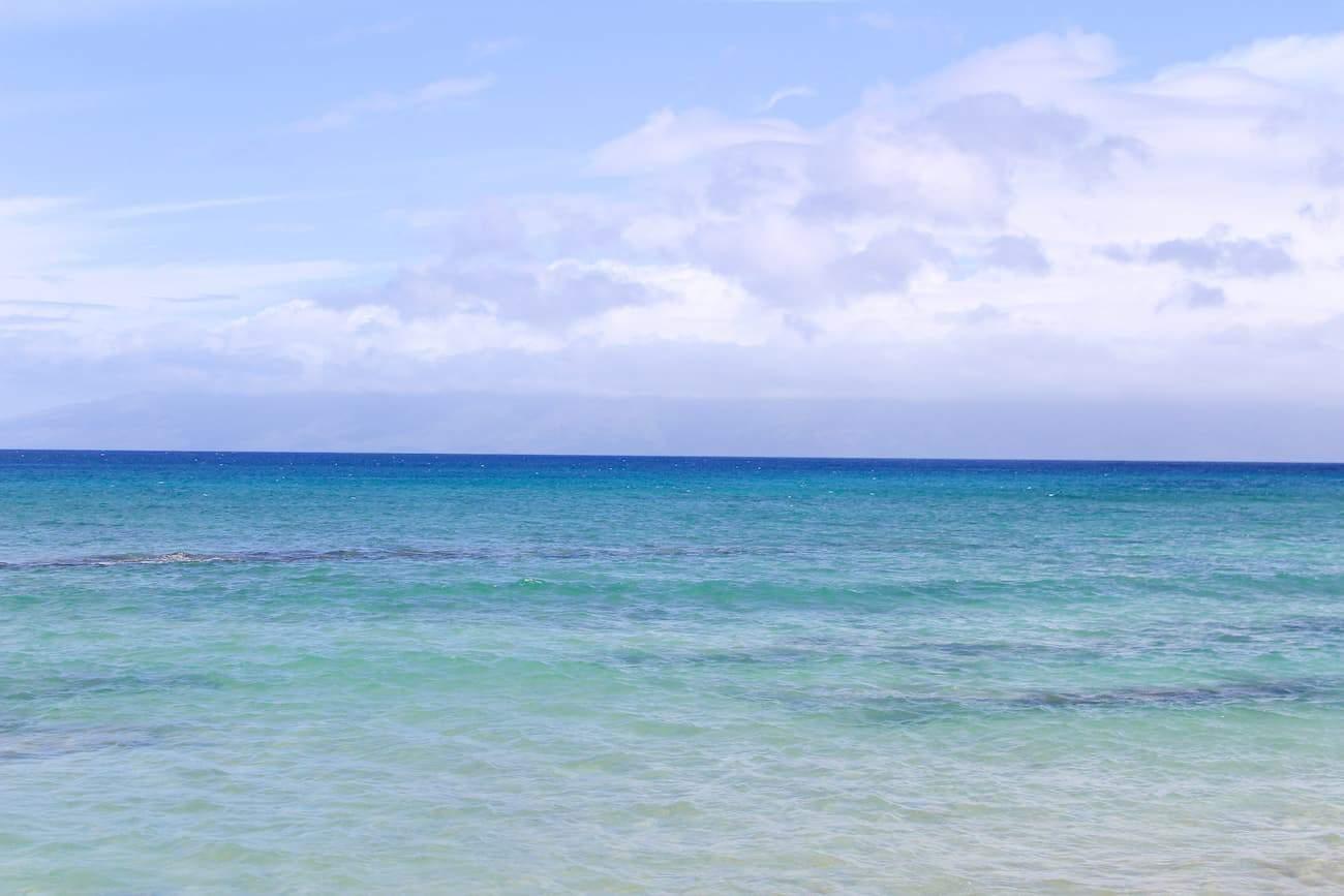 wide shot of blue sea