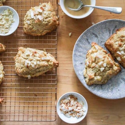 pineapple coconut scones on a gray plate