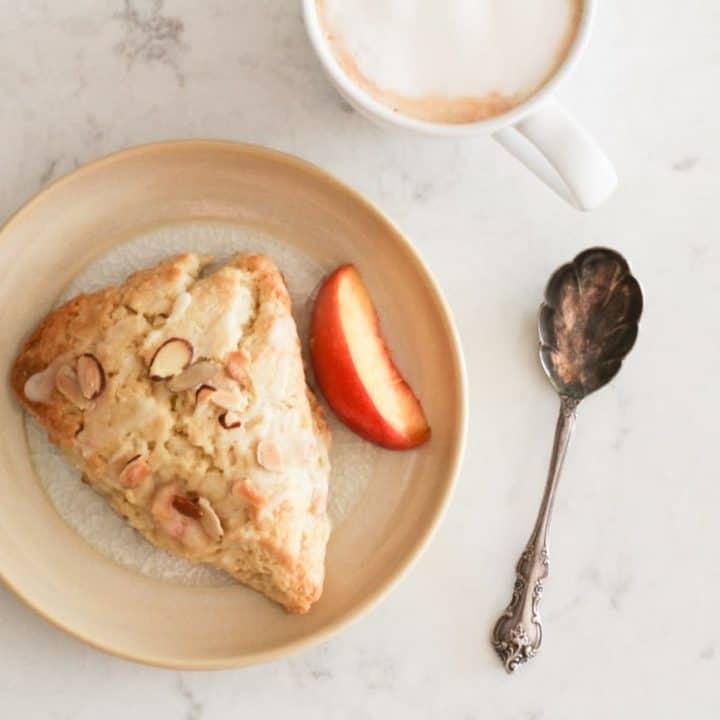 almond peach scone with cappuccino