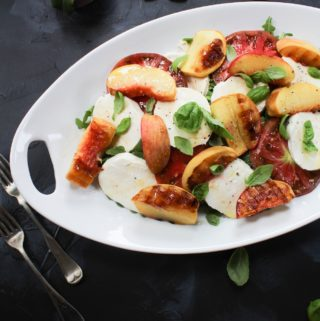 grilled peach caprese with peach
