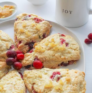ginger cranberry scones with mug of coffee