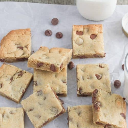 brown butter milk chocolate chip blondies with bottle of milk
