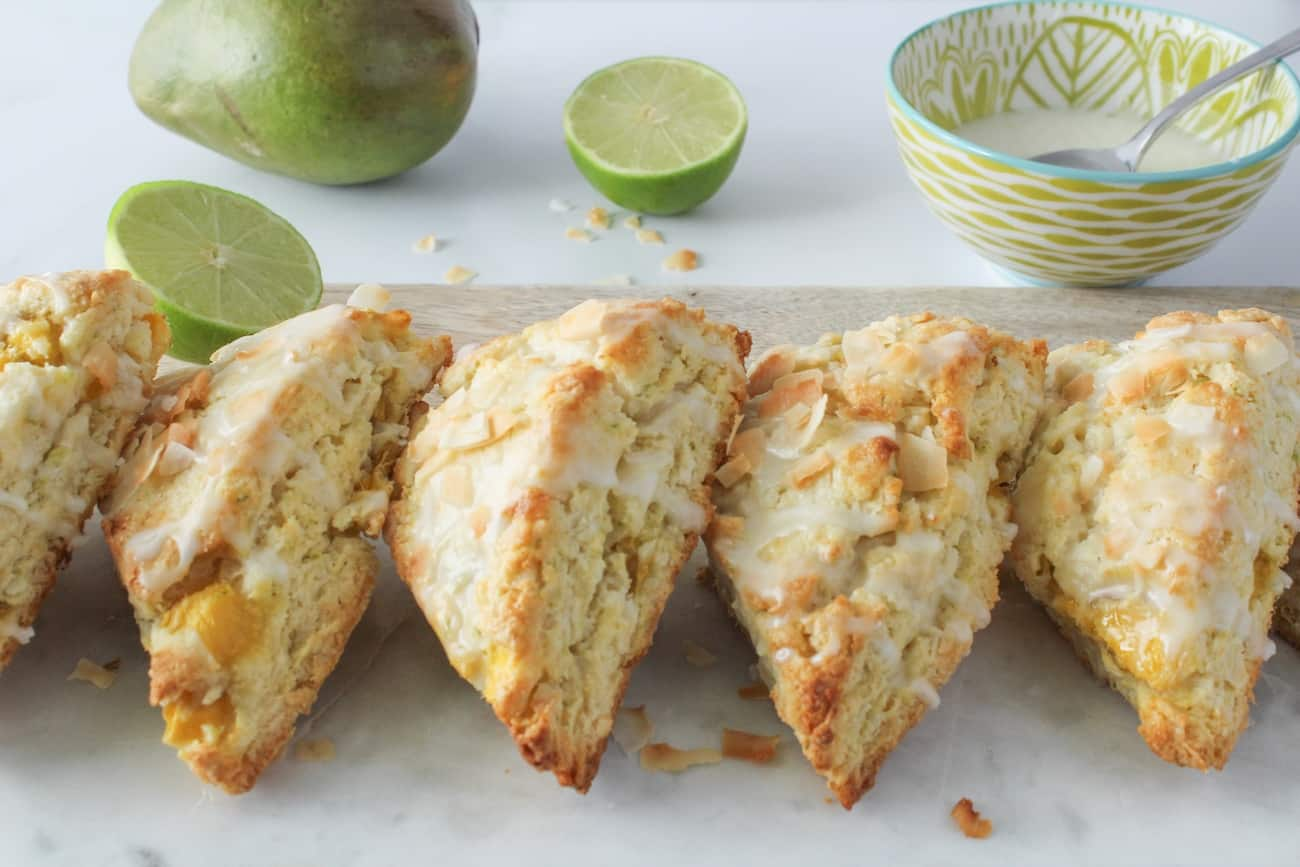 coconut mango scones with lime glaze