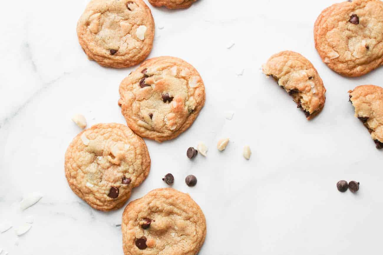 top down shot of Brown Butter Coconut Chocolate Chip Cookies