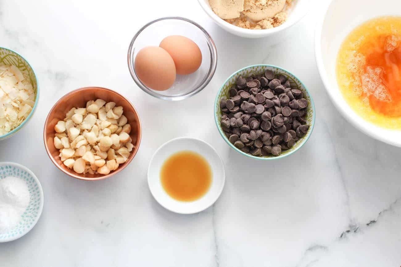 ingredients for Brown Butter Coconut Chocolate Chip Cookies