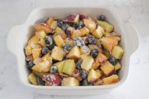 baking dish containing fruit