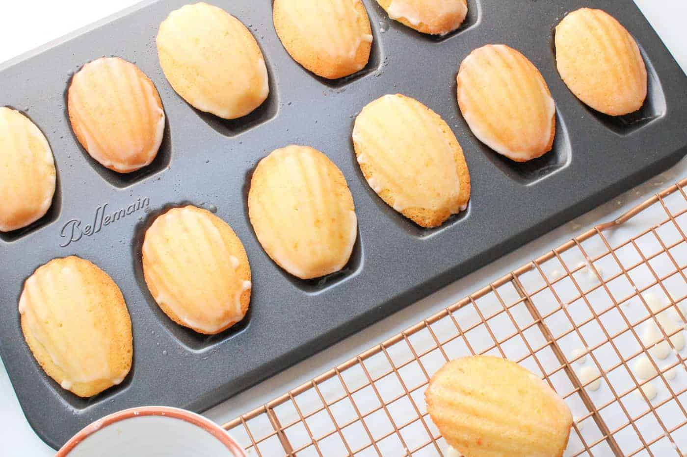 almond madeleines in a baking tray