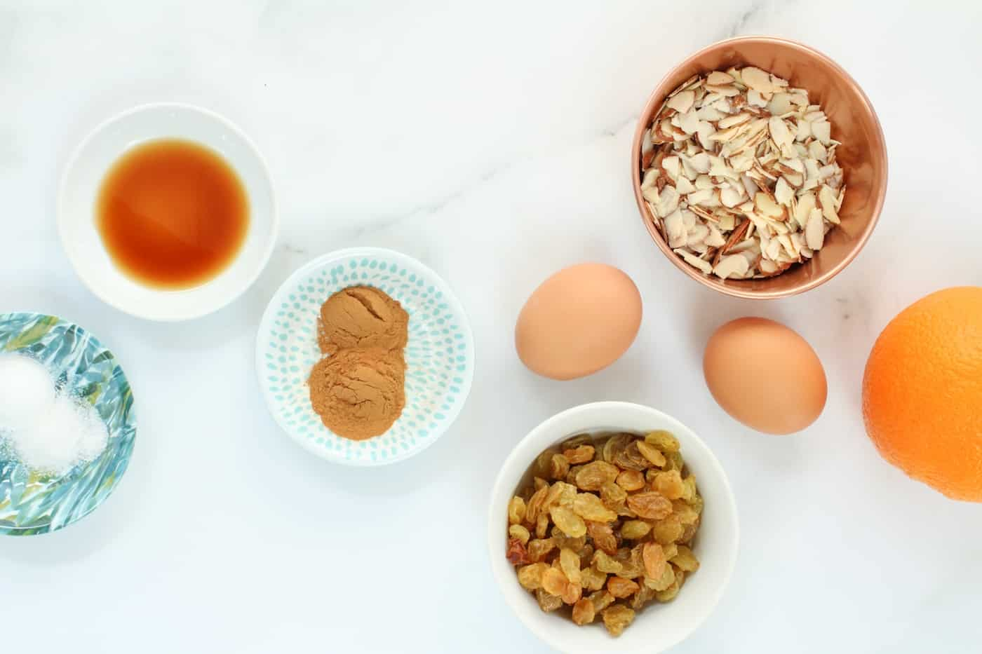 ingredients for Orange Almond Baked Oatmeal