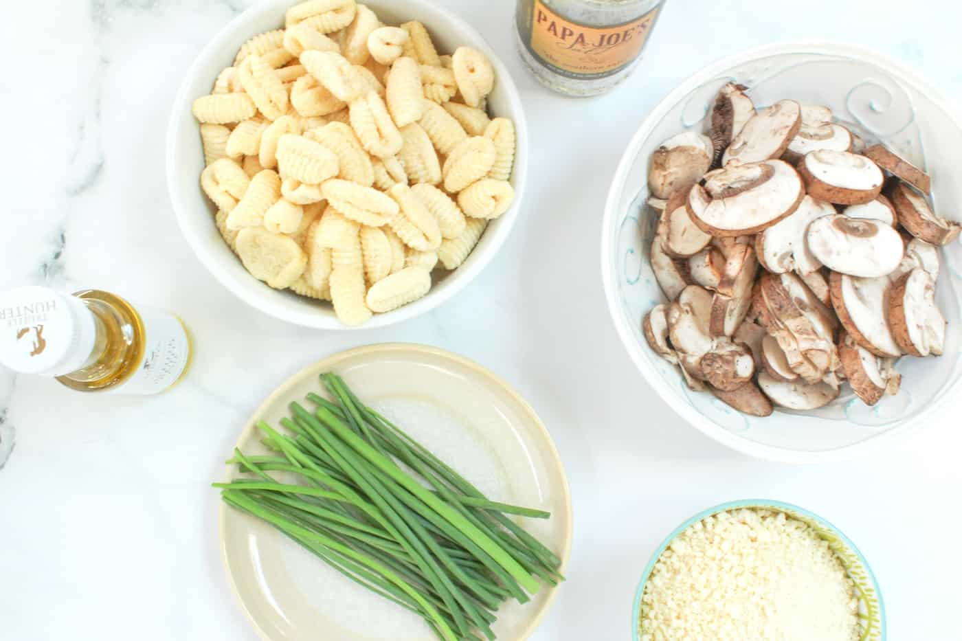ingredients for Gnocchi with Mushroom Ragu and Peas
