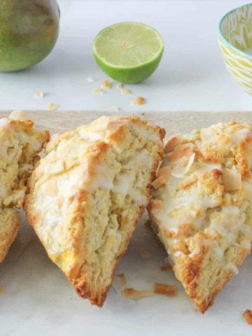 coconut mango scones in a row
