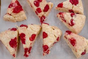 top down shot of batch of Raspberry Lemonade Scones