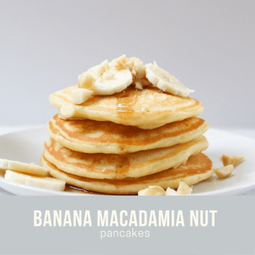 stack of fluffy banana macadamia nut pancakes