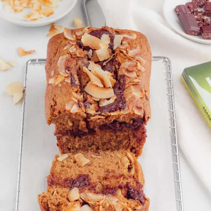 macadamia nut banana bread with chocolate and coconut