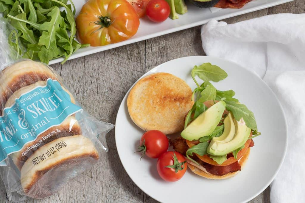 BLT sandwich with BLT platter and Stone and Skillet English muffins