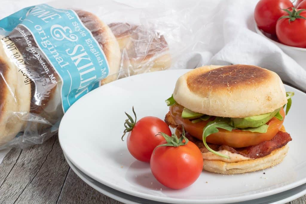 ultimate BLT on plate with cherry tomatoes