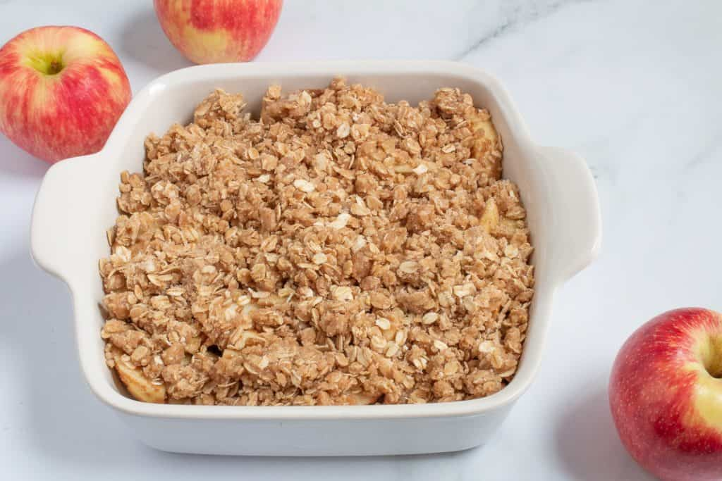 brown butter apple crisp ready to bake