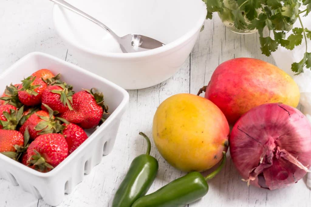 ingredients for mango strawberry salsa