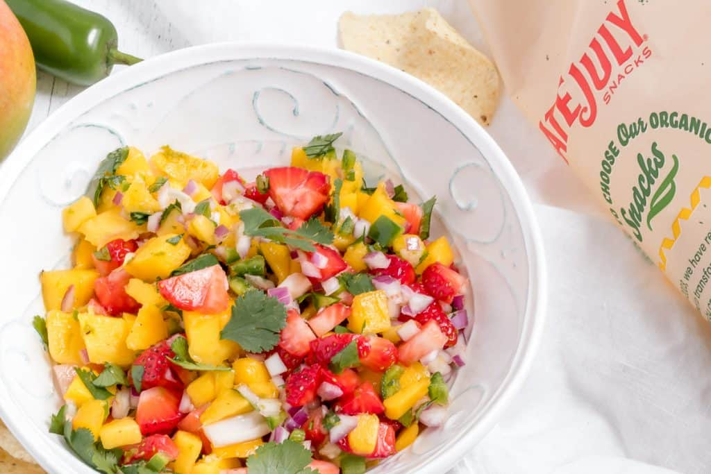 mango strawberry salsa with late July tortilla chips