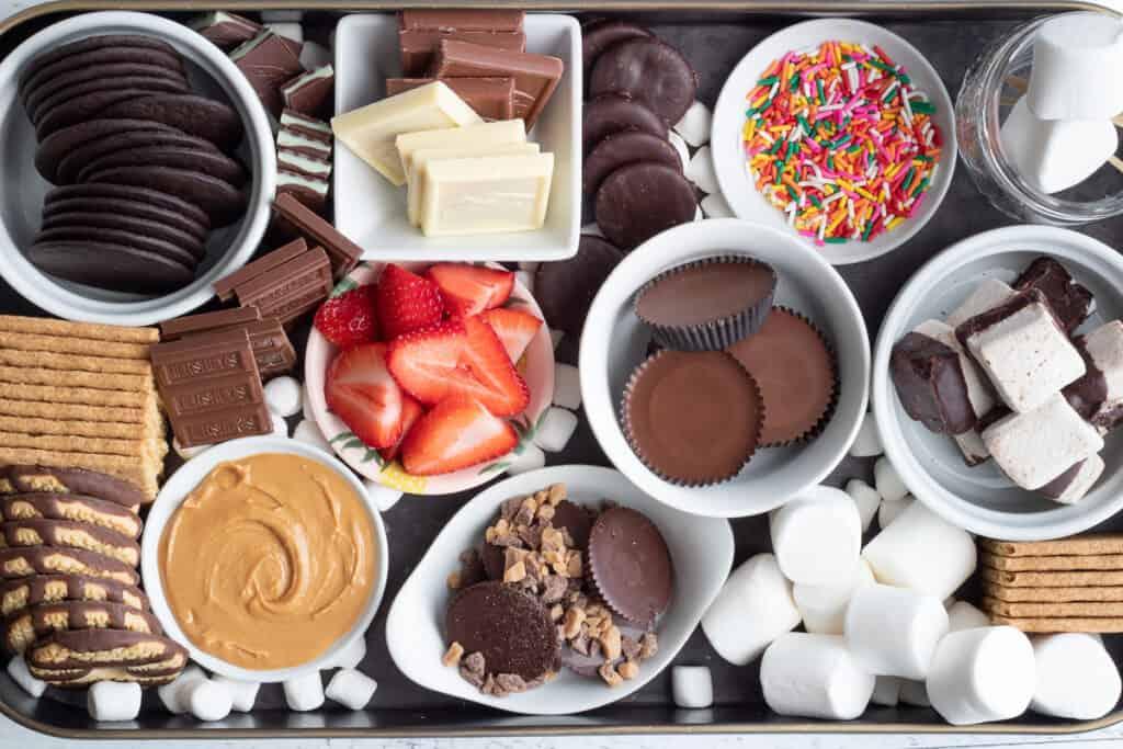 s'mores dessert board up close