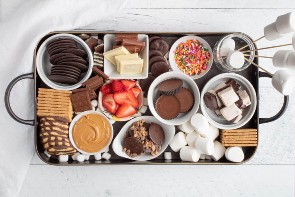 s'mores dessert board on table