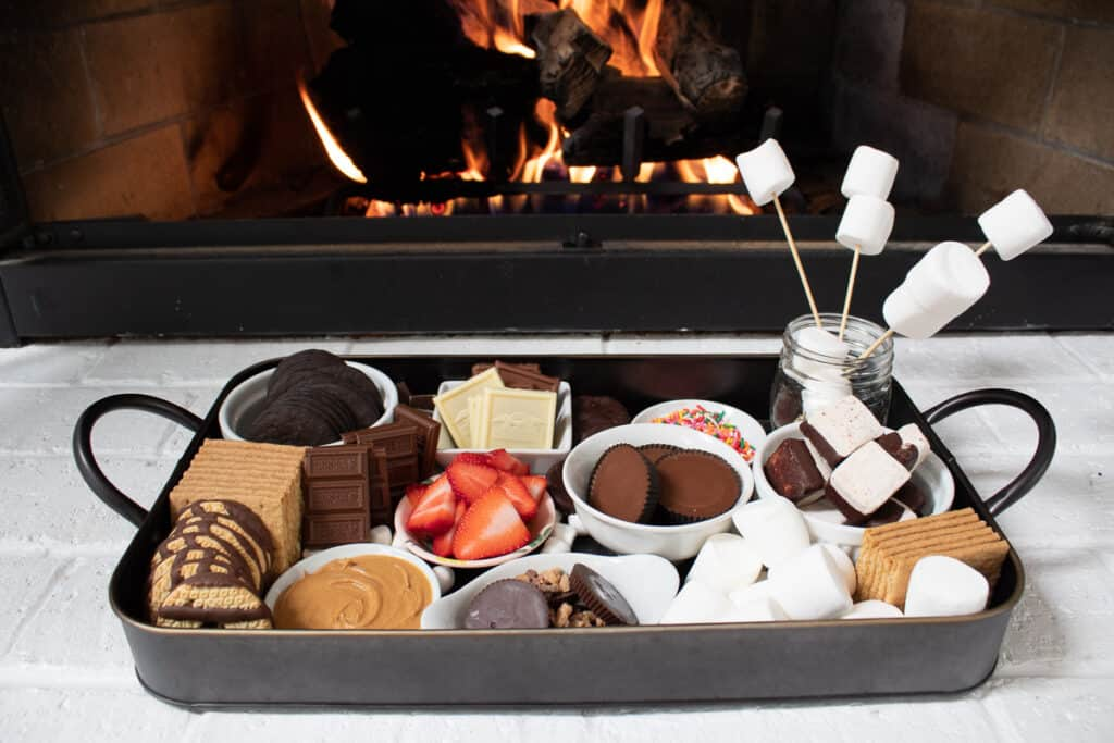 s'mores board in front of fire